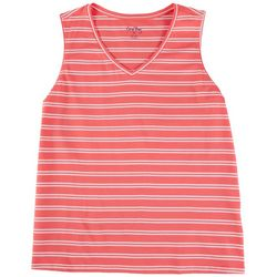 Coral Bay Womens Striped V-Neck Tank Top