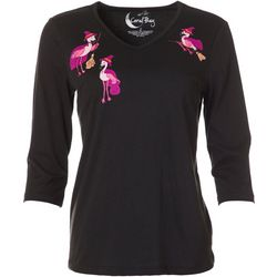 Coral Bay Womens Three Quarter Sleeve Flamingo V-Neck Top