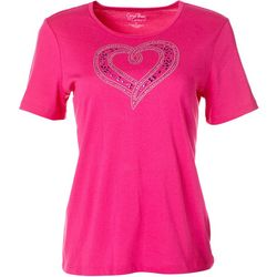 Coral Bay Womens Short Sleeve Jeweled Heart Top
