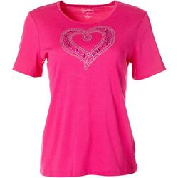 Womens Short Sleeve Jeweled Heart Top