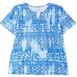 Coral Bay Womens V Neck Print Short Sleeve Top