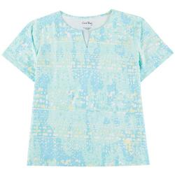 Womens V Neck Print Short Sleeve Top