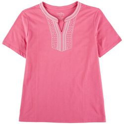 Coral Bay Womens  Embroidered Short Sleeve Top