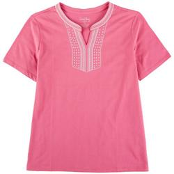 Womens  Embroidered Short Sleeve Top