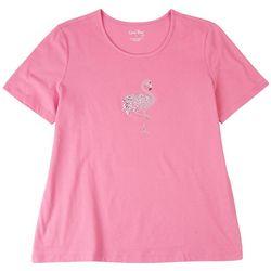 Coral Bay Womens Embellished Florida Flamingo T-shirt