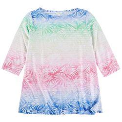 Coral Bay Womens Palm Tree Print 3/4 Sleeve Top