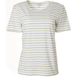 Womens Horizontal Stripe Round Neck Top
