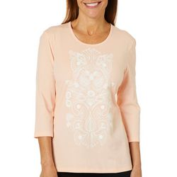 Coral Bay Womens Puff Print Paisley Embellished Solid Top