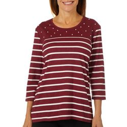 Coral Bay Womens Striped Pearl Embellished Top