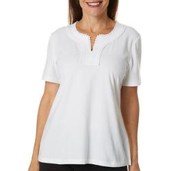 Womens Solid Embroidered Neckline Short Sleeve Top