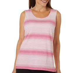 Coral Bay Womens Multi Stripe Print Scoop Neck Tank