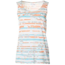 Coral Bay Womens Mixed Stripe Print Scoop Neck Tank