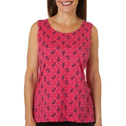 Coral Bay Womens Anchor Print Scoop Neck Tank