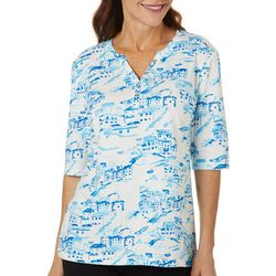 Coral Bay Womens Scenic Print Henly Elbow Sleeve Top