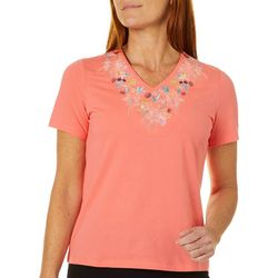 Coral Bay Womens Solid Floral Embellished Short Sleeve Top