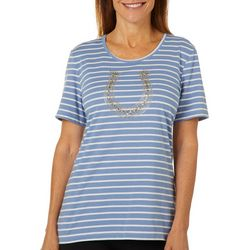 Coral Bay Womens Striped Embellished Horseshoe Top