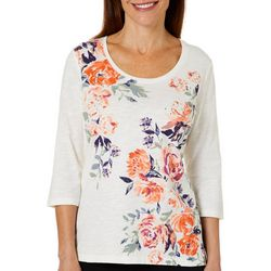 Coral Bay Womens Jeweled Floral Screen Print Top