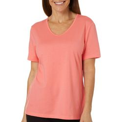 Coral Bay Womens Solid V-Neck Short Sleeve Top