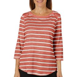 Coral Bay Womens Striped Glitter Detail Boat Neck Top
