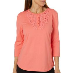 Coral Bay Womens Solid Crochet Detail Short Sleeve Top
