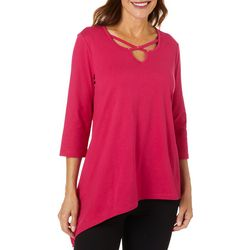 Coral Bay Womens Solid Embellished Caged Neckline Top