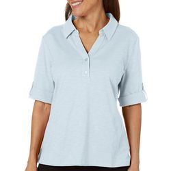Coral Bay Womens Solid Elbow Sleeve Polo Top