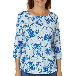Coral Bay Womens Leaf Print Button Embellished Boat Neck Top