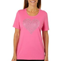 Coral Bay Womens Embellished Heart Short Sleeve Top