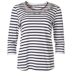 Coral Bay Festive Stripe Embroidered Top