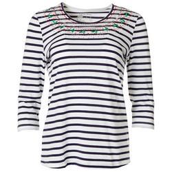 Festive Stripe Embroidered Top