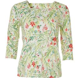 Coral Bay Womens Christmas Ornament Square Neck Top