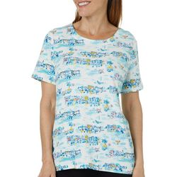 Coral Bay Womens Beach Village Short Sleeve Top