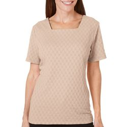Womens Textured Square Neck Solid Top