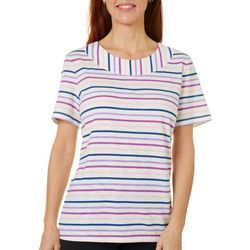 Coral Bay Womens Multi Striped Boat Neck Short Sleeve Top