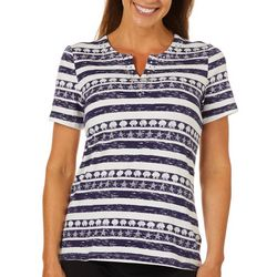 Coral Bay Womens Seashell Striped Jeweled Short Sleeve Top