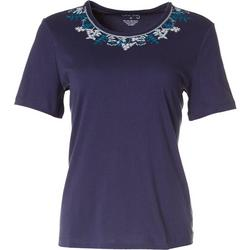 Womens Floral Embroidered Short Sleeve Top