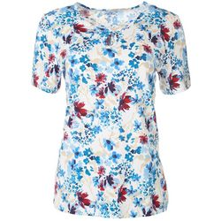Coral Bay Womens Floral Keyhole Short Sleeve Top