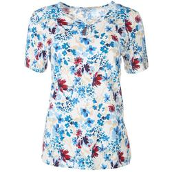 Womens Floral Keyhole Short Sleeve Top