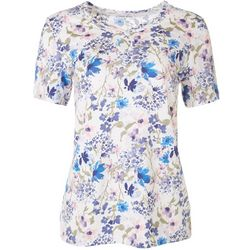 Coral Bay Womens Flowery Keyhole Short Sleeve Top