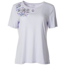 Coral Bay Womens Embroidered Floral Keyhole Top