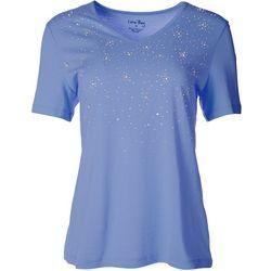 Coral Bay Womens Rhinestone Embellished Cascade Shirt