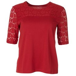 Coral Bay Womens Solid Lacey Short Sleeve Top