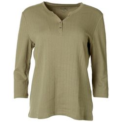 Coral Bay Womens Quilted Henley 3/4 Sleeve Top