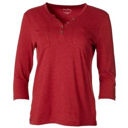 Coral Bay Womens Solid Pocketed Henley Top