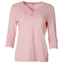 Womens Solid Pocketed Henley Top
