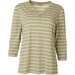 Coral Bay Womens Striped Henley Top