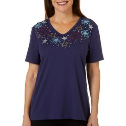 Womens Americana Jeweled Stars Top