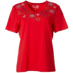 Coral Bay Womens Americana Jeweled Stars Top