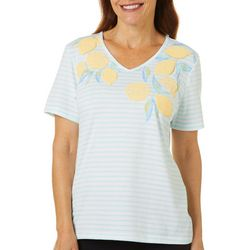 Coral Bay Womens Lemon Screen Print Striped V-Neck