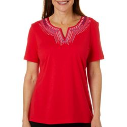 Coral Bay Womens Solid Americana Split Neck Short Sleeve Top